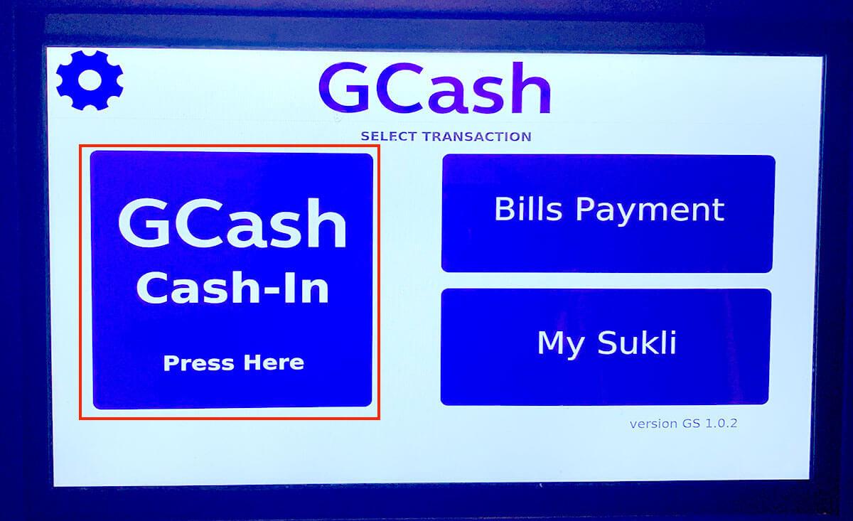 GCashへ入金ボタンを押す